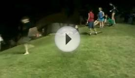Downhill sledding - on grass - on cardboard boxes