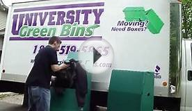 University Green Bins- cardboard boxes, wardrobe