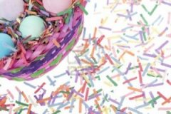 "Who needs plastic easter ""grass?"" Just shred some brightly colored copy paper or even colorful junk mail!"